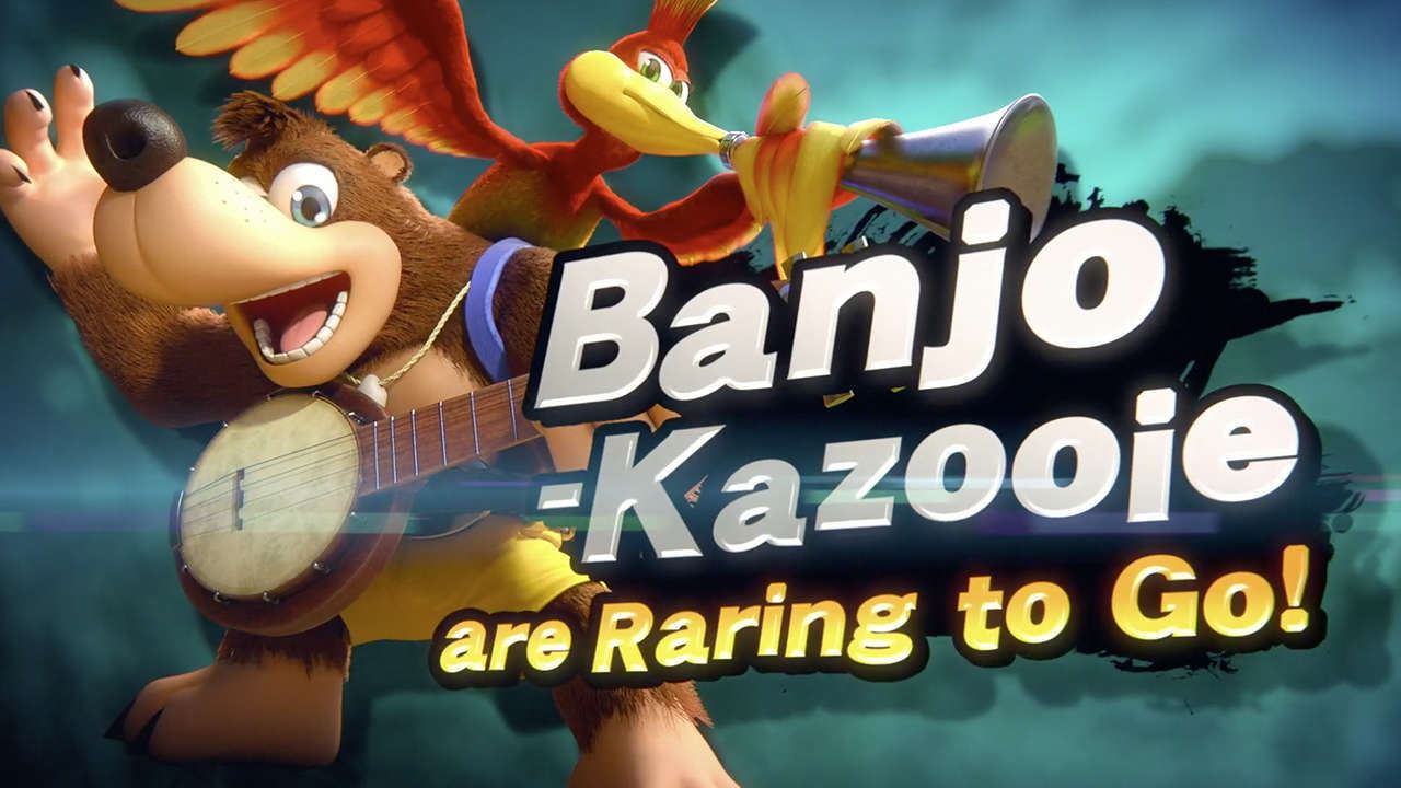 The announcement screen declaring that Banjo and Kazooie have joined Super Smash Bros. Ultimate!