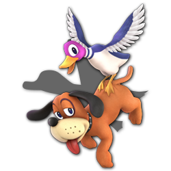 Duck Hunt as appearing in Super Smash Bros. Ultimate.