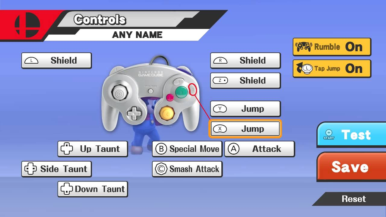 smash bros button layout