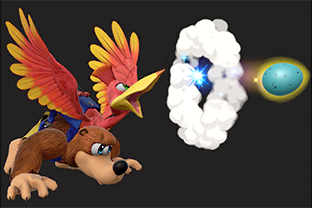 Banjo and Kazooie performing the move Egg Firing.