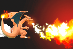 Charizard performing the move Flamethrower.