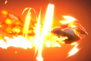 Charizard performing the move Flare Blitz.