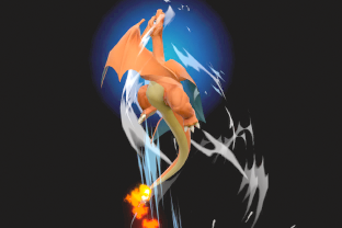 Charizard performing the move Fly.