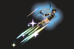Dark Pit performing the move Power of Flight.
