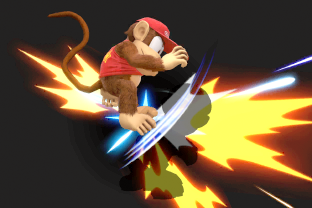 Diddy Kong performing the move Monkey Flip.