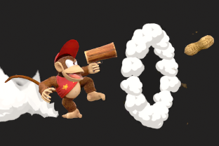 Diddy Kong performing the move Peanut Popgun.