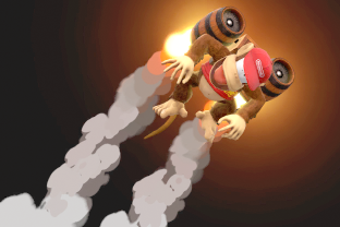 Diddy Kong performing the move Rocketbarrel Boost.