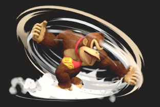 DK performing the move Spinning Kong.