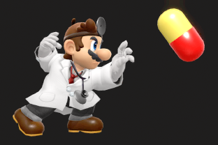 Dr. Mario performing the move Megavitamins.