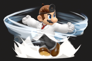 Dr. Mario performing the move Dr. Tornado.
