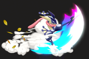 Greninja performing the move Shadow Sneak.