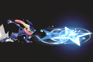 Greninja performing the move Water Shuriken.
