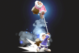 Ice Climbers performing the move Belay.