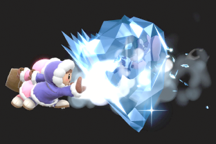 Ice Climbers performing the move Ice Shot.