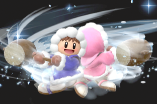 Ice Climbers performing the move Squall Hammer.