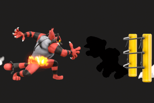 Incineroar performing the move Alolan Whip.