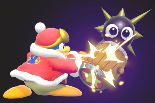 King Dedede performing the move Gordo Throw.