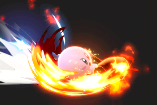 Kirby performing the move Hammer Flip.