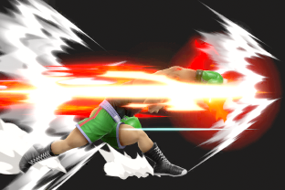 Little Mac performing the move Straight Lunge.