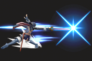 Lucina performing the move Shield Breaker.