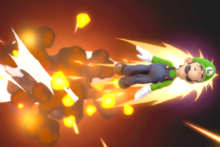 Luigi performing the move Green Missile.