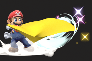 Mario performing the move Cape.