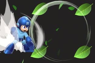 Mega Man performing the move Leaf Shield.