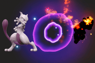 Mewtwo performing the move Confusion.