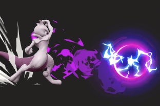 Mewtwo performing the move Shadow Ball.