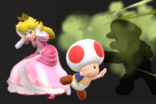Peach performing the move Toad.