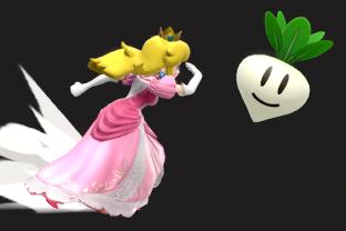 Peach performing the move Vegetable.