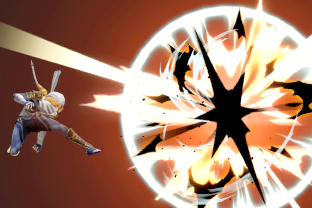 Sheik performing the move Burst Grenade.
