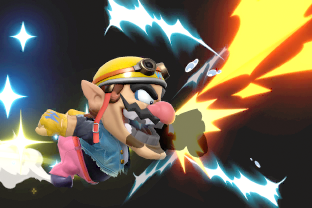 Wario performing the move Chomp.