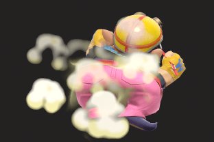 Wario performing the move Wario Waft.