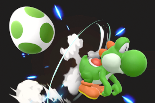 Yoshi performing the move Egg Lay.