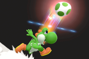 Yoshi performing the move Egg Throw.